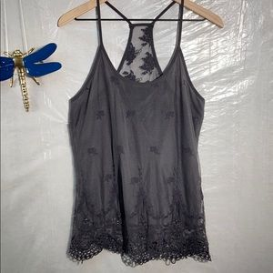 BKE lace beaded overlay tank top